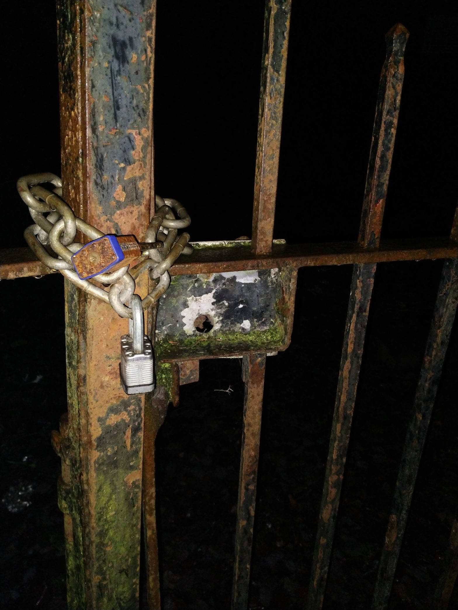 Two padlocks, one rusty, and the old frame of a lock for the gate. The backdrop is black and you can just make out items in the background lit by the flash.