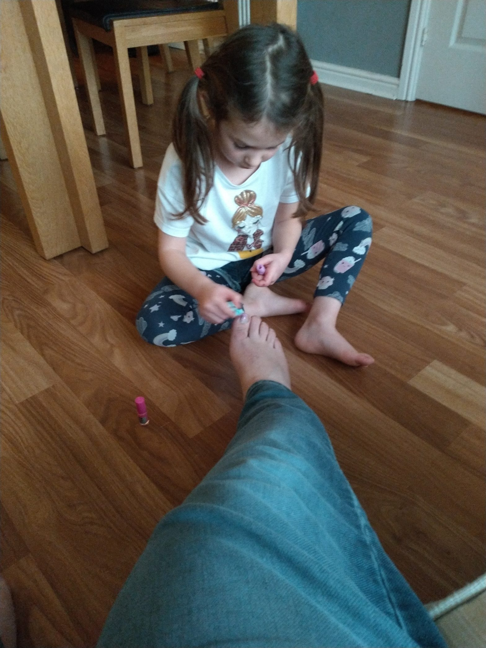 Today, Emily painted my fingernails and toenails. I felt very pampered