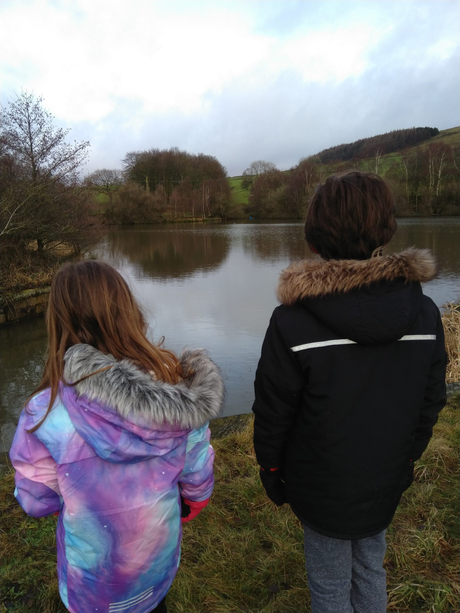 A view out over the top of Swinebank Reservoir with the kids.