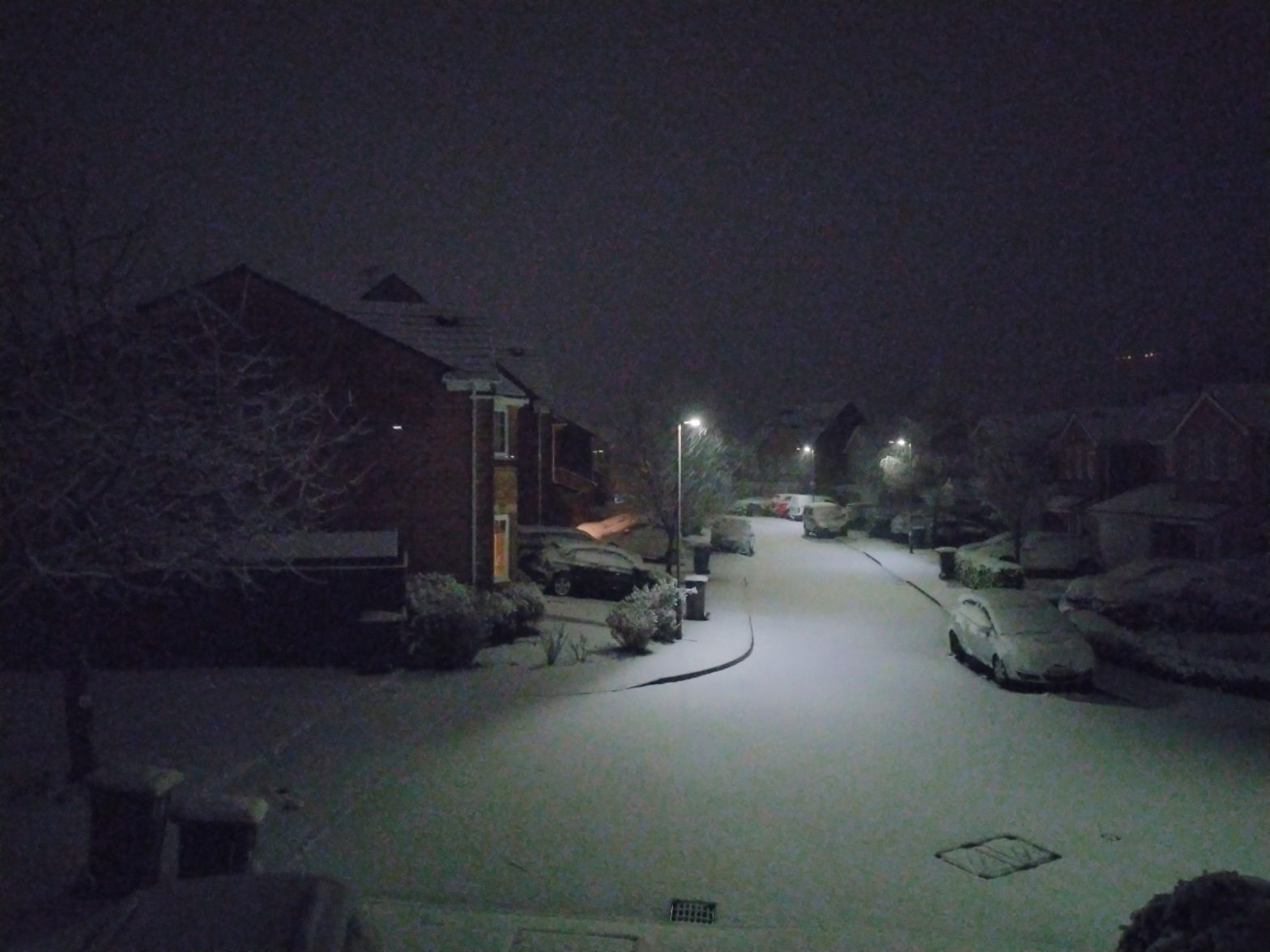 A snowy night on our street.